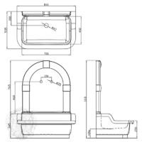 Раковина напольная с декоративной пристенной панелью ML.OLV-45.100.BI.DO