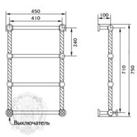 EDERA DX Полотенцесушитель электрический h710/790х410/490 мм.(включение справа) ML.EDR-EL.101