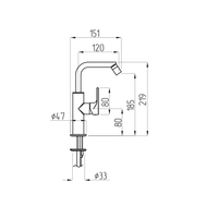 TENESI Смеситель для биде высокий H21,9 см. арт.25419