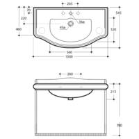 BELLA Консоль с раковиной подвесная 100 см. решеткой ML.BLL-24.101