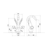 LUXOR Смеситель для раковины, лебедь большой, арт.23250