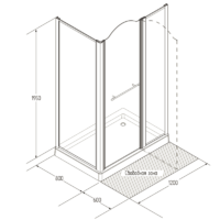 DIADEMA Душ.каб.прямоуг.80х120хH203 см. дверь распашная 80 см.SX, стекло мат./декор