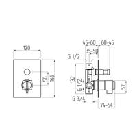 KVANT Смеситель термостат моноком. скрытого монтажа, 2-х позиционный термостат. с девиатором арт.25405
