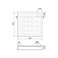 Поддон душевой, квадратный 90х90хH16 см, стеклокомпозит