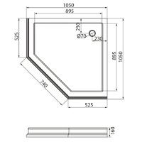 DIADEMA Поддон душевой, пятиугольный 105x105хH16 см, стеклокомпозит, декор