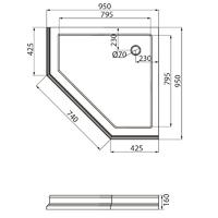 DIADEMA Поддон душевой, пятиугольный 95x95хH16 см, стеклокомпозит, декор