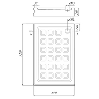 Поддон душевой, прямоугольный 122х82хH16 см SX, стеклокомпозит