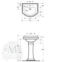 BELLA Раковина тюльпана 55 см, с колонной ML.BLL-25.055.BI